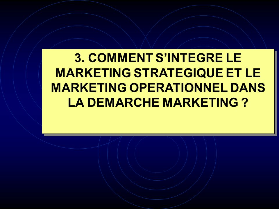 3. COMMENT SINTEGRE LE MARKETING STRATEGIQUE ET LE MARKETING OPERATIONNEL DANS LA DEMARCHE MARKETING ?