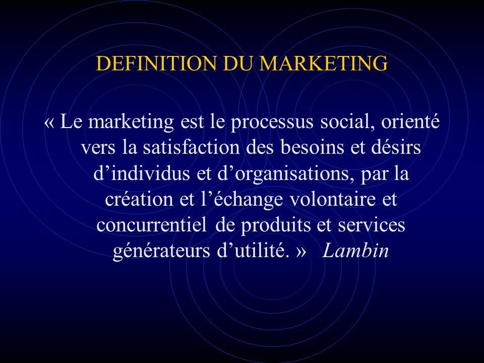 DEFINITION DU MARKETING « Le marketing est le processus social, orienté vers la satisfaction des besoins et désirs dindividus et dorganisations, par l