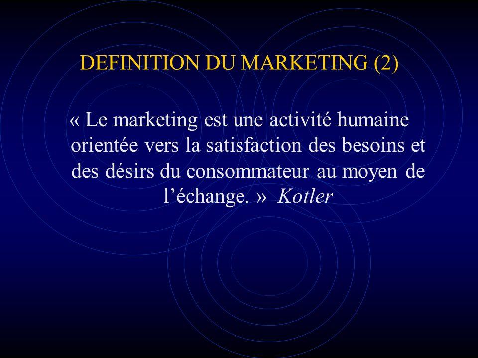 DEFINITION DU MARKETING (2) « Le marketing est une activité humaine orientée vers la satisfaction des besoins et des désirs du consommateur au moyen d