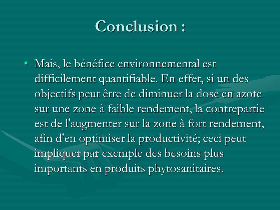 Conclusion : Mais, le bénéfice environnemental est difficilement quantifiable. En effet, si un des objectifs peut être de diminuer la dose en azote su
