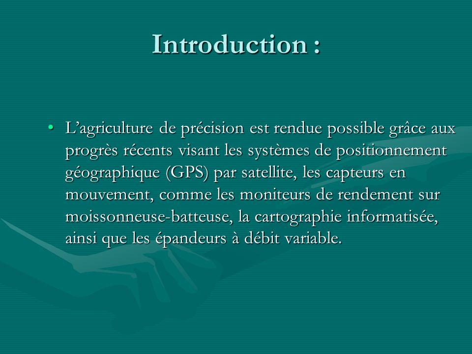 I- Les principes de lagriculture de précision : Le GPS: aide à calculer les surfaces de champs et saccompagne de capteurs pour connaître différentes données en même temps.Le GPS: aide à calculer les surfaces de champs et saccompagne de capteurs pour connaître différentes données en même temps.