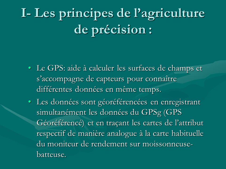 I- Les principes de lagriculture de précision : Le GPS: aide à calculer les surfaces de champs et saccompagne de capteurs pour connaître différentes d