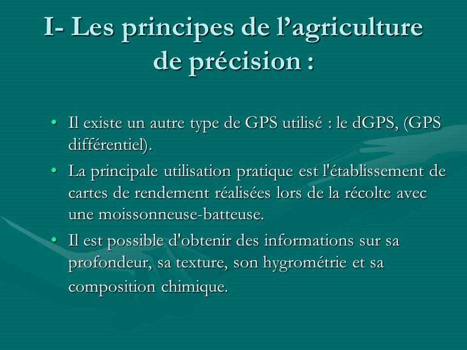 I- Les principes de lagriculture de précision : Il existe un autre type de GPS utilisé : le dGPS, (GPS différentiel).Il existe un autre type de GPS ut