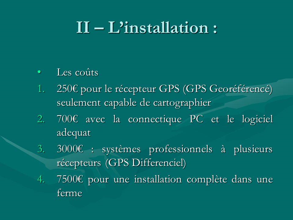 II – Linstallation : Les coûtsLes coûts 1.250 pour le récepteur GPS (GPS Georéférencé) seulement capable de cartographier 2.700 avec la connectique PC