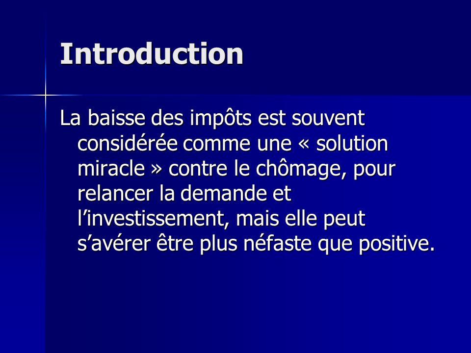 Introduction La baisse des impôts est souvent considérée comme une « solution miracle » contre le chômage, pour relancer la demande et linvestissement