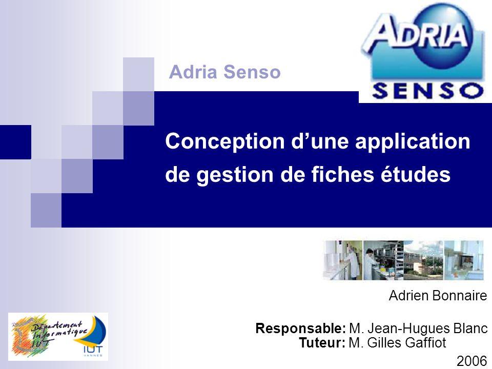 Conception dune application de gestion de fiches études Adria Senso Adrien Bonnaire Responsable: M. Jean-Hugues Blanc 2006 Tuteur: M. Gilles Gaffiot