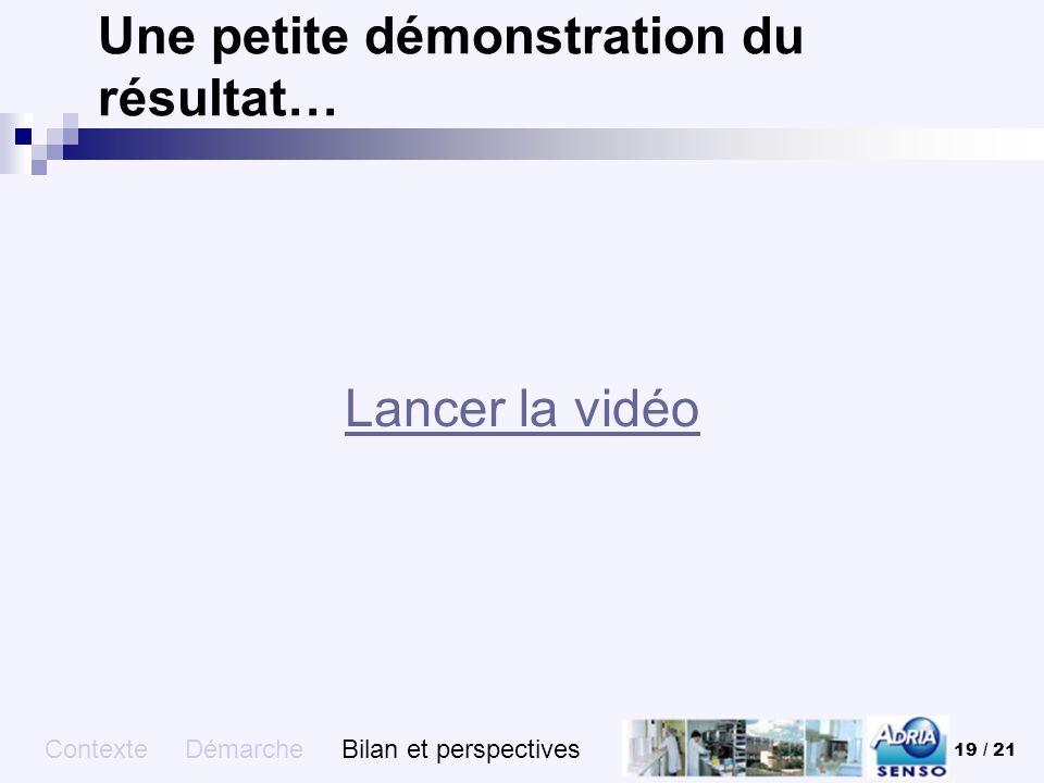 19 / 21 Une petite démonstration du résultat… Lancer la vidéo Contexte Démarche Bilan et perspectives