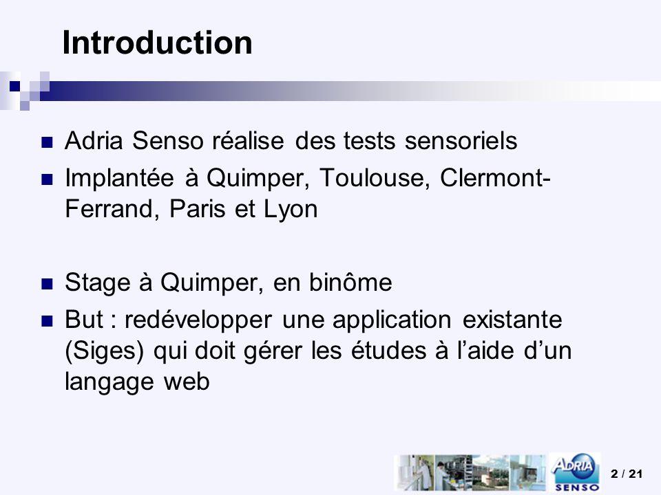 2 / 21 Introduction Adria Senso réalise des tests sensoriels Implantée à Quimper, Toulouse, Clermont- Ferrand, Paris et Lyon Stage à Quimper, en binôm