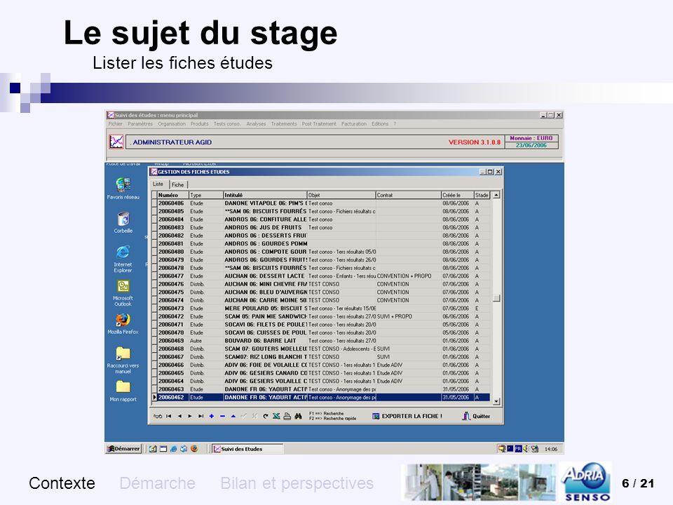 6 / 21 Le sujet du stage Lister les fiches études Contexte Démarche Bilan et perspectives