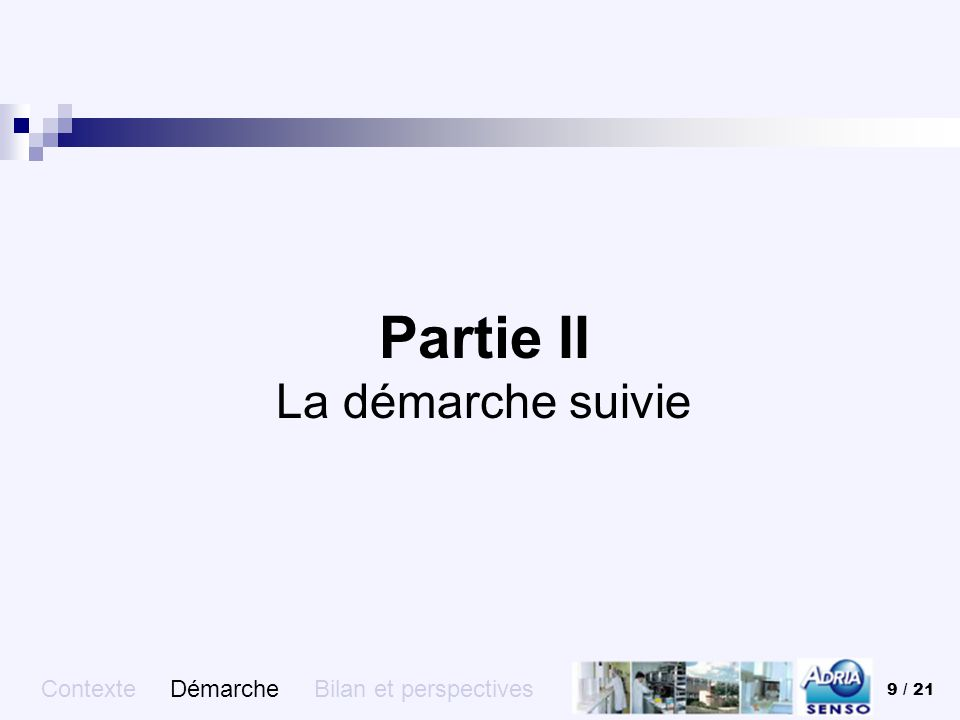 9 / 21 Partie II La démarche suivie Contexte Démarche Bilan et perspectives