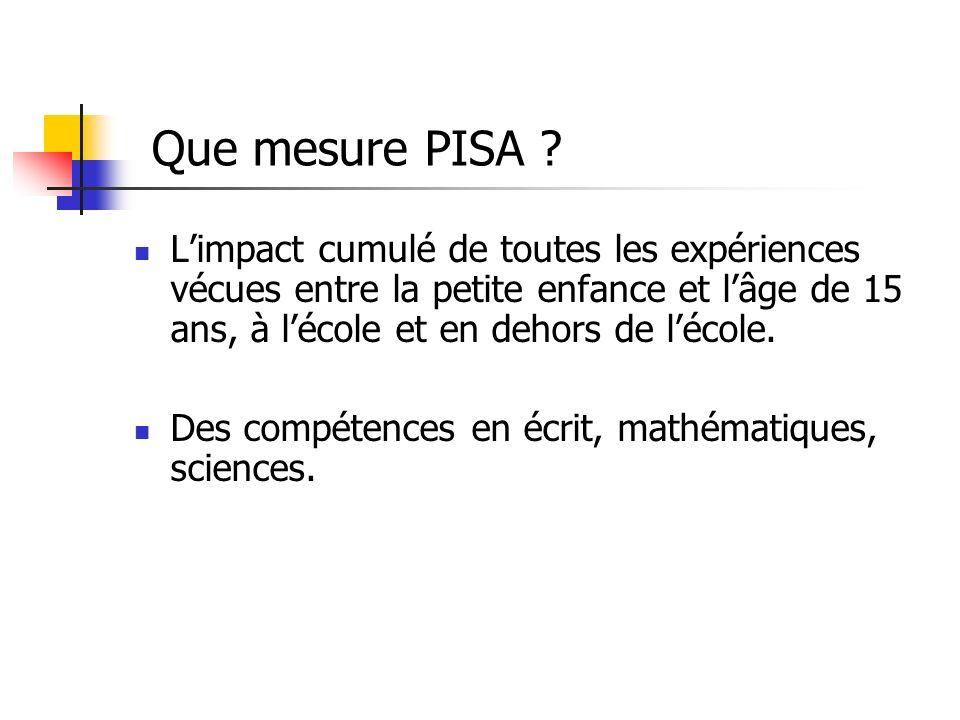 Que mesure PISA .