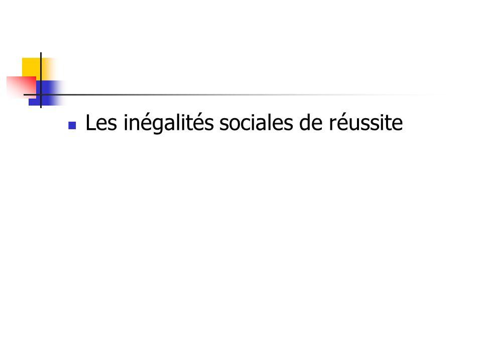 Les inégalités sociales de réussite