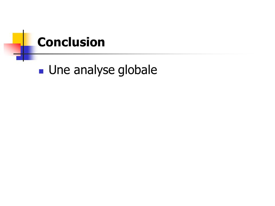 Conclusion Une analyse globale
