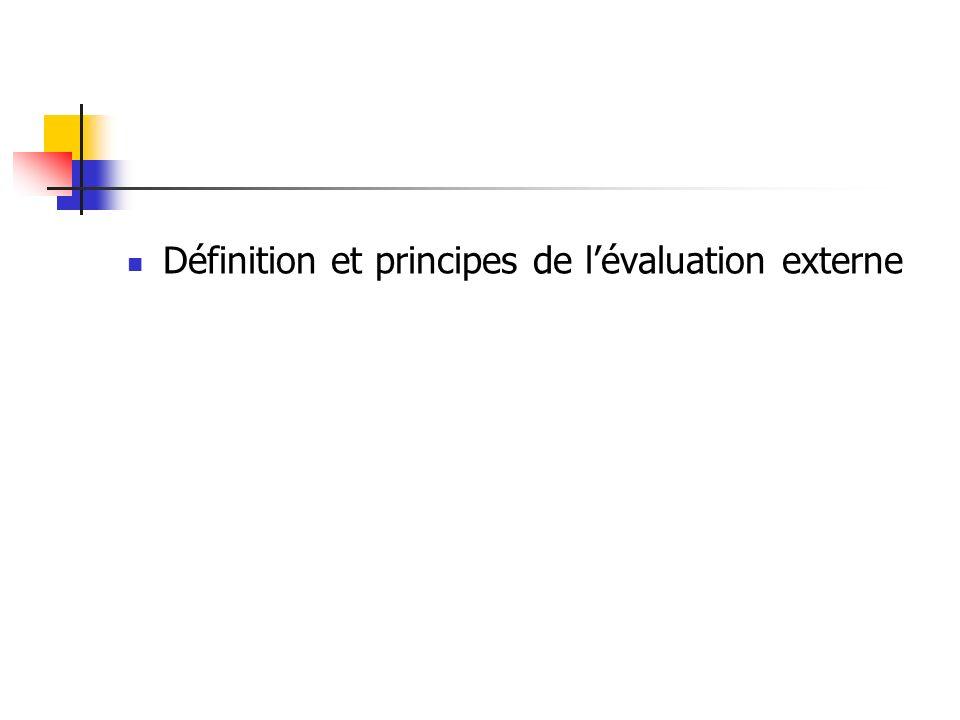 Définition et principes de lévaluation externe