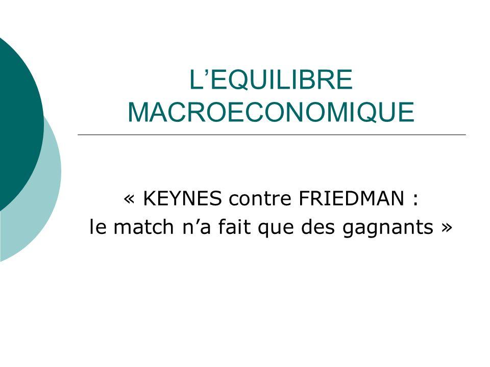 LEQUILIBRE MACROECONOMIQUE « KEYNES contre FRIEDMAN : le match na fait que des gagnants »