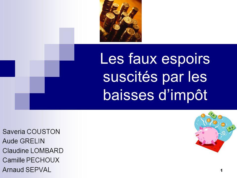 1 Les faux espoirs suscités par les baisses dimpôt Saveria COUSTON Aude GRELIN Claudine LOMBARD Camille PECHOUX Arnaud SEPVAL