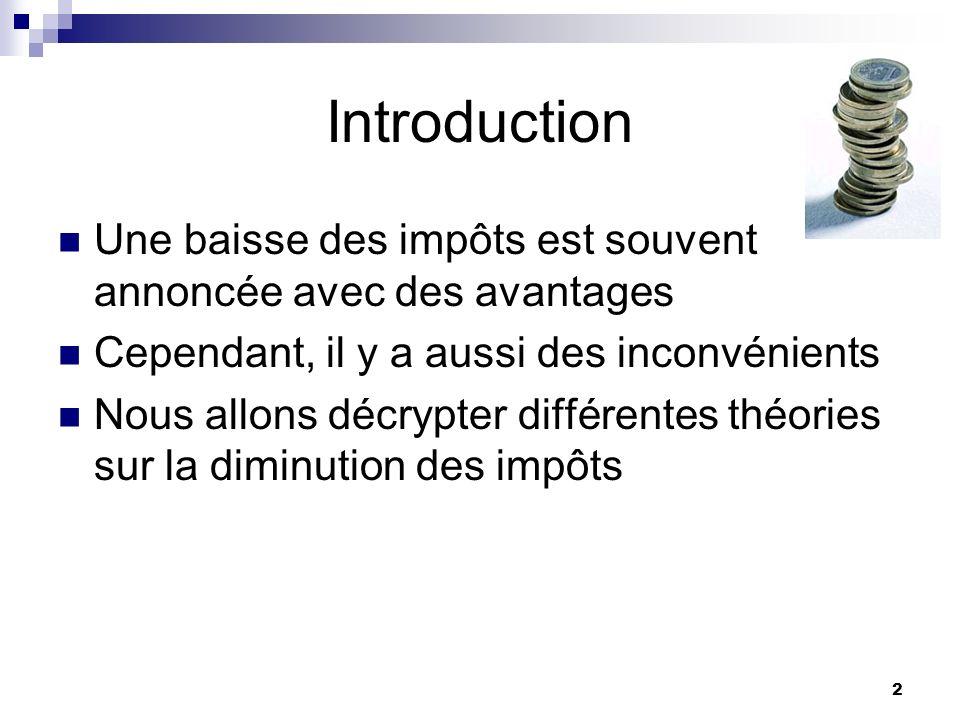 2 Introduction Une baisse des impôts est souvent annoncée avec des avantages Cependant, il y a aussi des inconvénients Nous allons décrypter différent