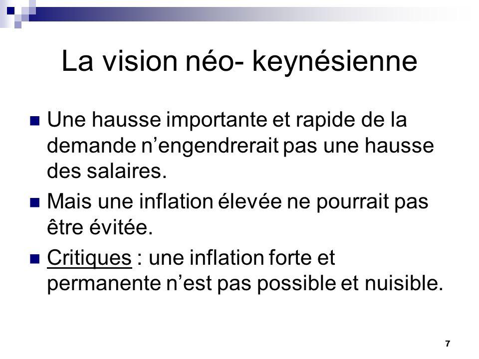 7 La vision néo- keynésienne Une hausse importante et rapide de la demande nengendrerait pas une hausse des salaires. Mais une inflation élevée ne pou