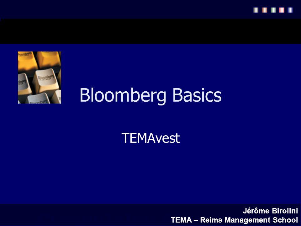 Bloomberg Les touches vertes : pour valider les opérations pour un retour à lécran précédent pour lexplication des fonctions, calculs, et la recherche dinformation.