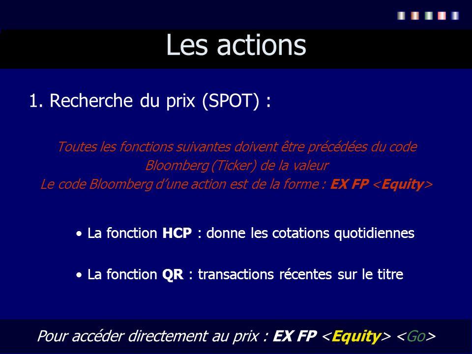 Les actions 1. Recherche du prix (SPOT) : Toutes les fonctions suivantes doivent être précédées du code Bloomberg (Ticker) de la valeur Le code Bloomb