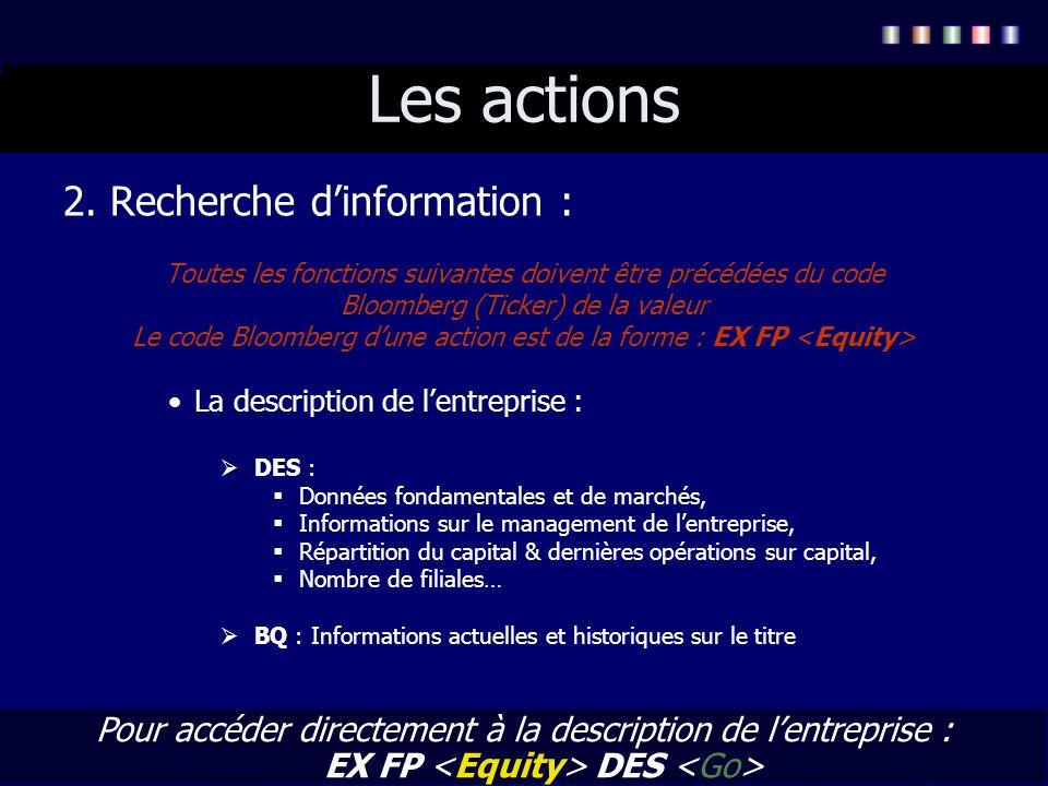 Les actions 2. Recherche dinformation : Toutes les fonctions suivantes doivent être précédées du code Bloomberg (Ticker) de la valeur Le code Bloomber