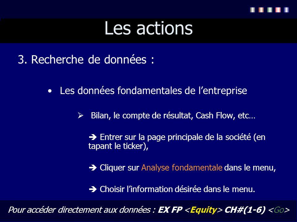 Les actions 3. Recherche de données : Les données fondamentales de lentreprise Bilan, le compte de résultat, Cash Flow, etc… Entrer sur la page princi