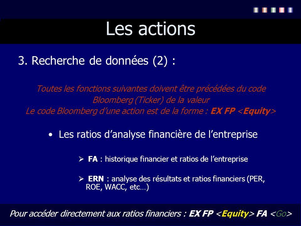 Les actions 3. Recherche de données (2) : Toutes les fonctions suivantes doivent être précédées du code Bloomberg (Ticker) de la valeur Le code Bloomb