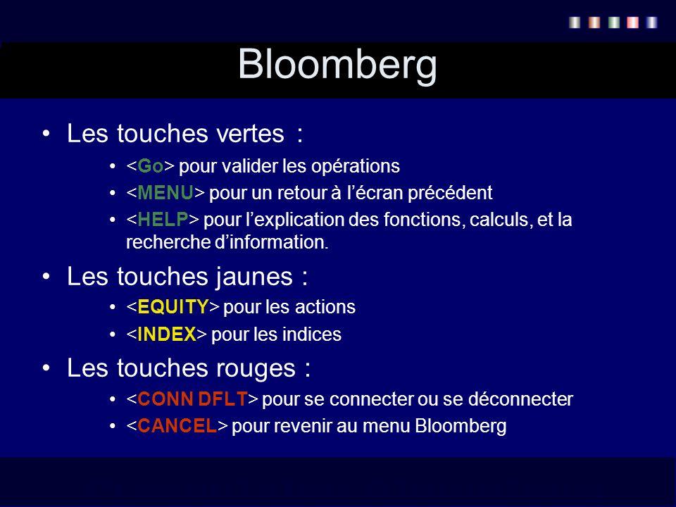 Bloomberg Les touches vertes : pour valider les opérations pour un retour à lécran précédent pour lexplication des fonctions, calculs, et la recherche