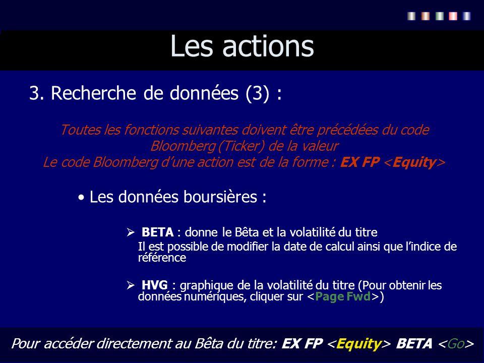 Les actions 3. Recherche de données (3) : Toutes les fonctions suivantes doivent être précédées du code Bloomberg (Ticker) de la valeur Le code Bloomb