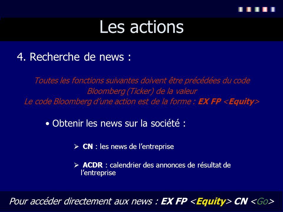 Les actions 4. Recherche de news : Toutes les fonctions suivantes doivent être précédées du code Bloomberg (Ticker) de la valeur Le code Bloomberg dun