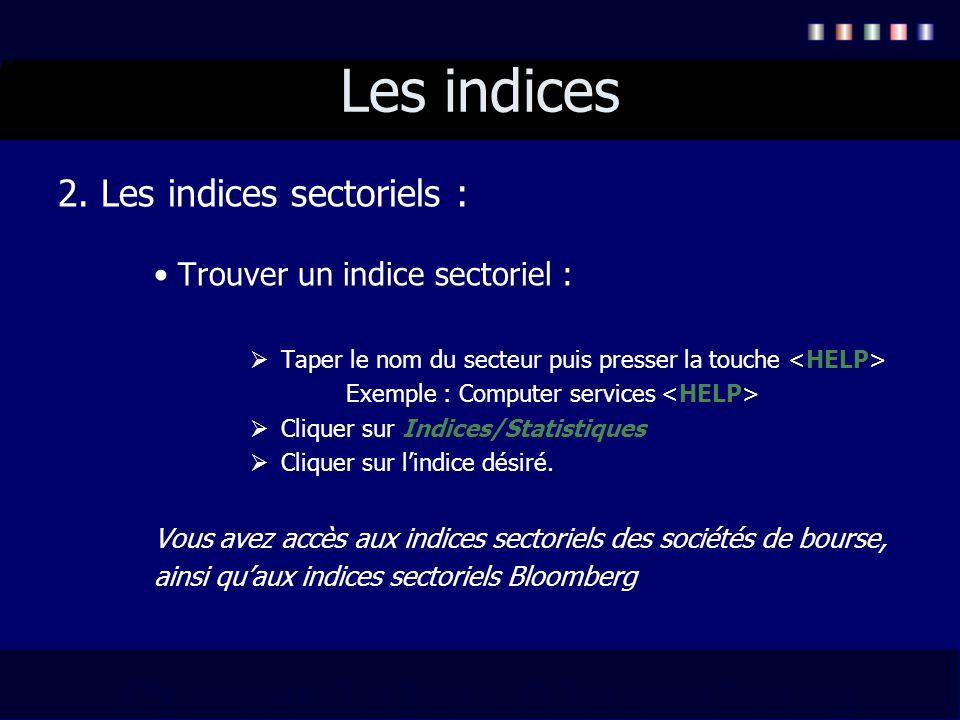 Les indices 2. Les indices sectoriels : Trouver un indice sectoriel : Taper le nom du secteur puis presser la touche Exemple : Computer services Cliqu