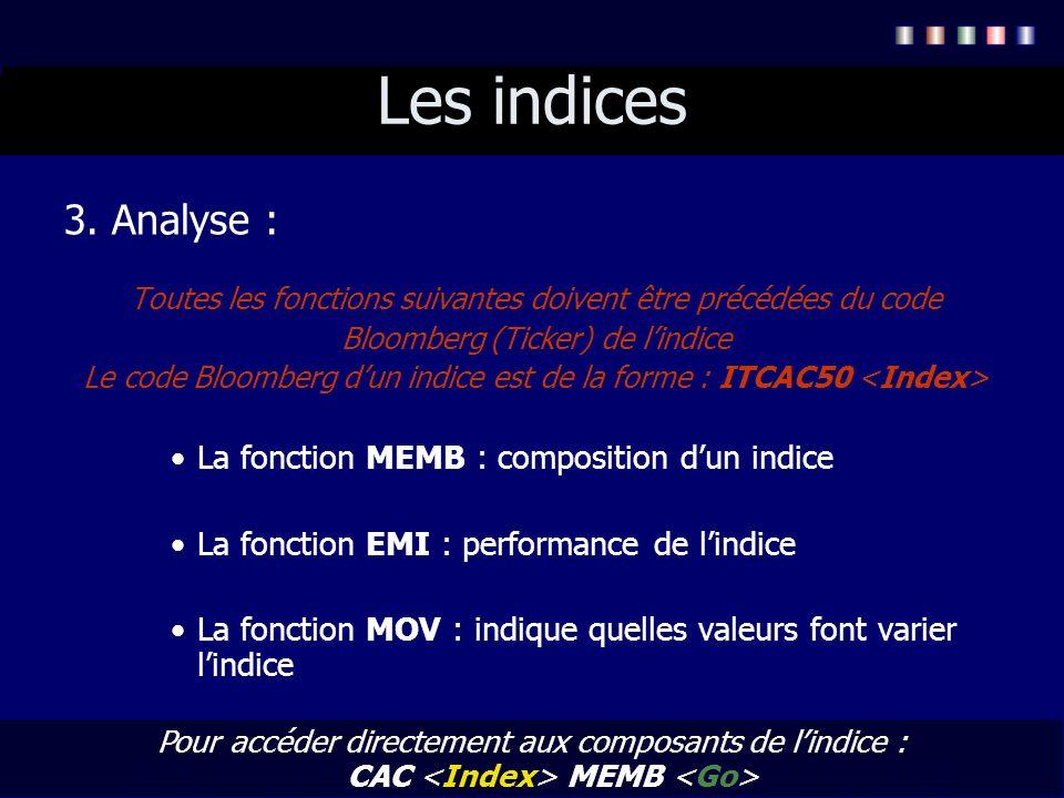 Les indices 3. Analyse : Toutes les fonctions suivantes doivent être précédées du code Bloomberg (Ticker) de lindice Le code Bloomberg dun indice est
