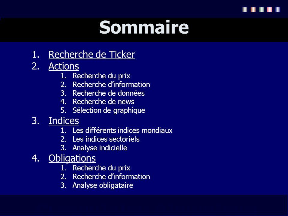 Sommaire 1.Recherche de Ticker 2.Actions 1.Recherche du prix 2.Recherche dinformation 3.Recherche de données 4.Recherche de news 5.Sélection de graphi