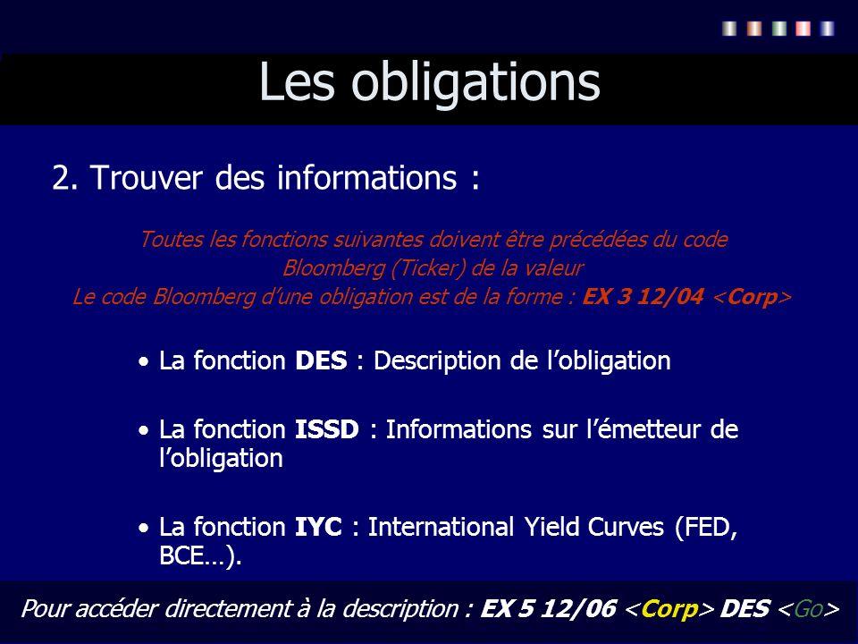 Les obligations 2. Trouver des informations : Toutes les fonctions suivantes doivent être précédées du code Bloomberg (Ticker) de la valeur Le code Bl
