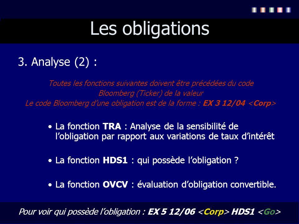 Les obligations 3. Analyse (2) : Toutes les fonctions suivantes doivent être précédées du code Bloomberg (Ticker) de la valeur Le code Bloomberg dune