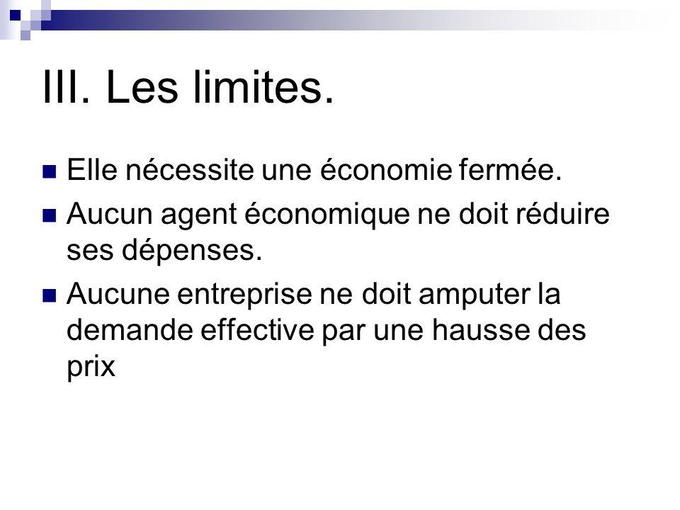 III.Les limites. Elle nécessite une économie fermée.