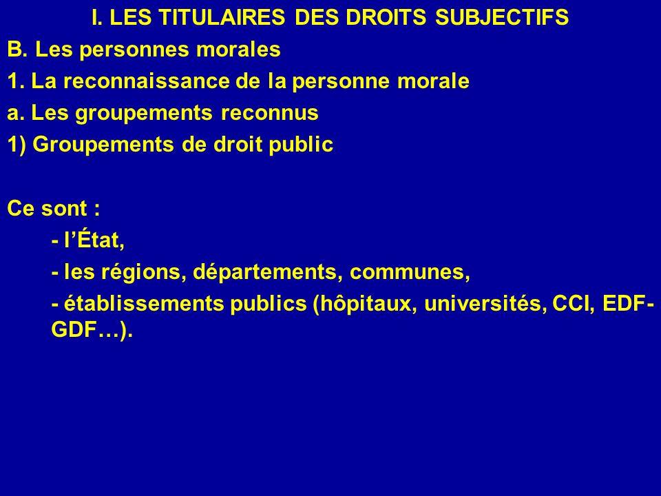 I. LES TITULAIRES DES DROITS SUBJECTIFS B. Les personnes morales 1. La reconnaissance de la personne morale a. Les groupements reconnus 1) Groupements