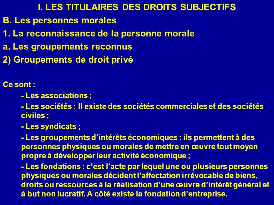 I. LES TITULAIRES DES DROITS SUBJECTIFS B. Les personnes morales 1. La reconnaissance de la personne morale a. Les groupements reconnus 2) Groupements