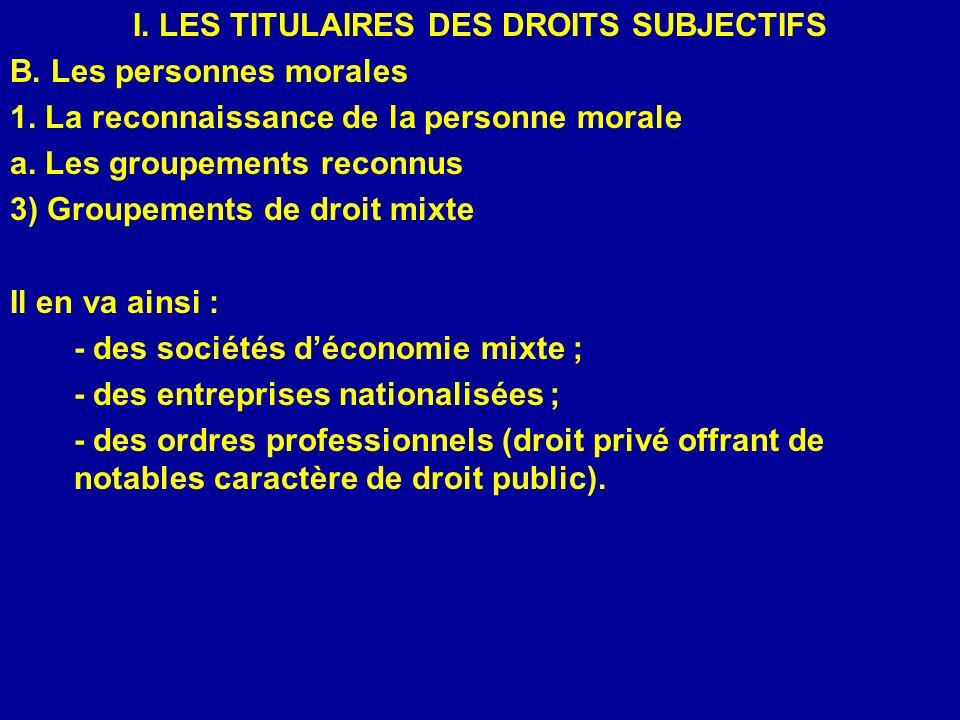 I. LES TITULAIRES DES DROITS SUBJECTIFS B. Les personnes morales 1. La reconnaissance de la personne morale a. Les groupements reconnus 3) Groupements