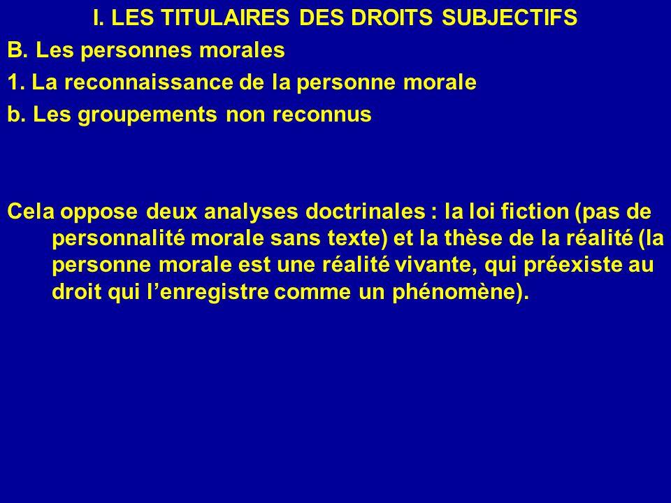 I. LES TITULAIRES DES DROITS SUBJECTIFS B. Les personnes morales 1. La reconnaissance de la personne morale b. Les groupements non reconnus Cela oppos