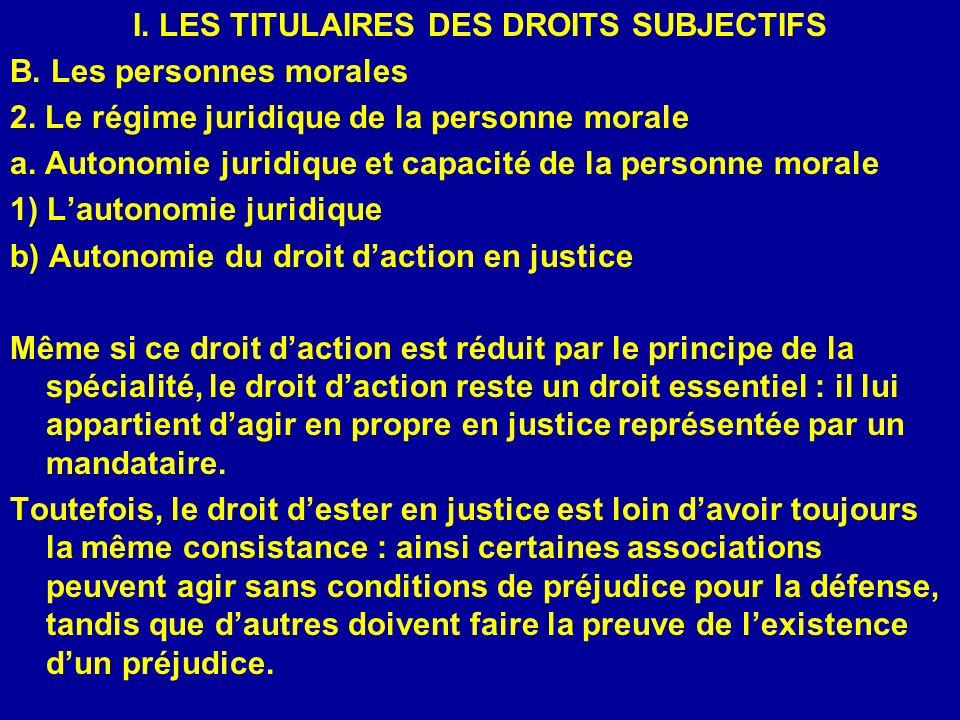 I. LES TITULAIRES DES DROITS SUBJECTIFS B. Les personnes morales 2. Le régime juridique de la personne morale a. Autonomie juridique et capacité de la