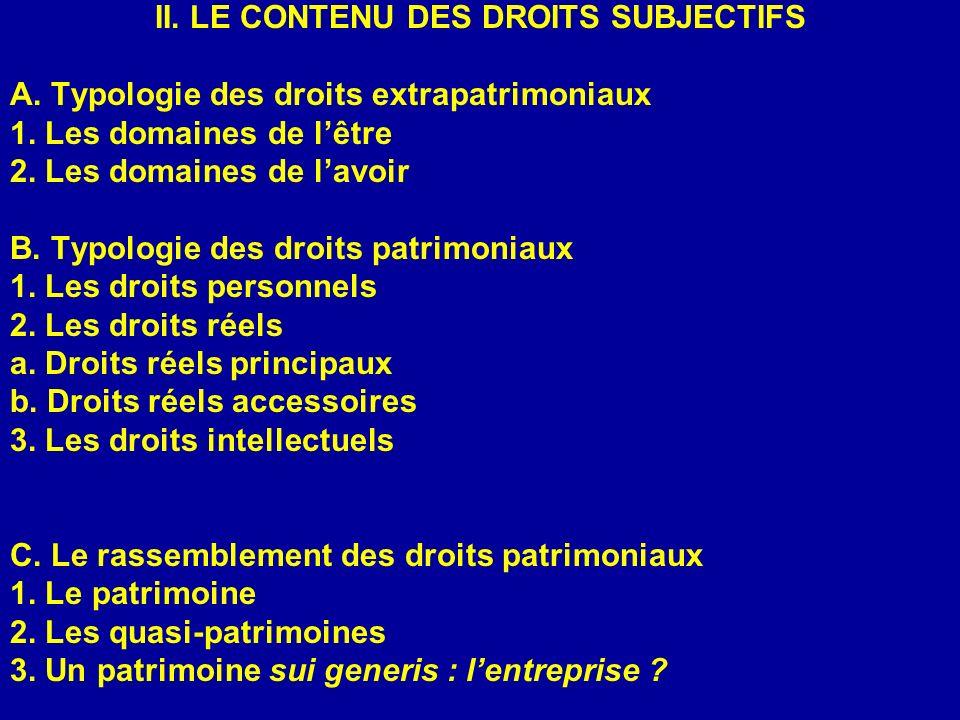 II. LE CONTENU DES DROITS SUBJECTIFS A. Typologie des droits extrapatrimoniaux 1. Les domaines de lêtre 2. Les domaines de lavoir B. Typologie des dro