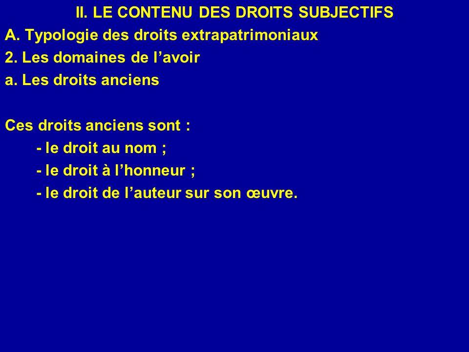 II. LE CONTENU DES DROITS SUBJECTIFS A. Typologie des droits extrapatrimoniaux 2. Les domaines de lavoir a. Les droits anciens Ces droits anciens sont