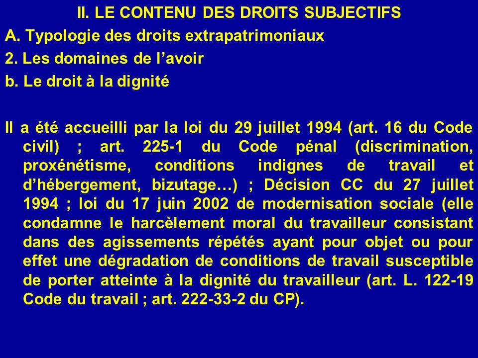 II. LE CONTENU DES DROITS SUBJECTIFS A. Typologie des droits extrapatrimoniaux 2. Les domaines de lavoir b. Le droit à la dignité Il a été accueilli p