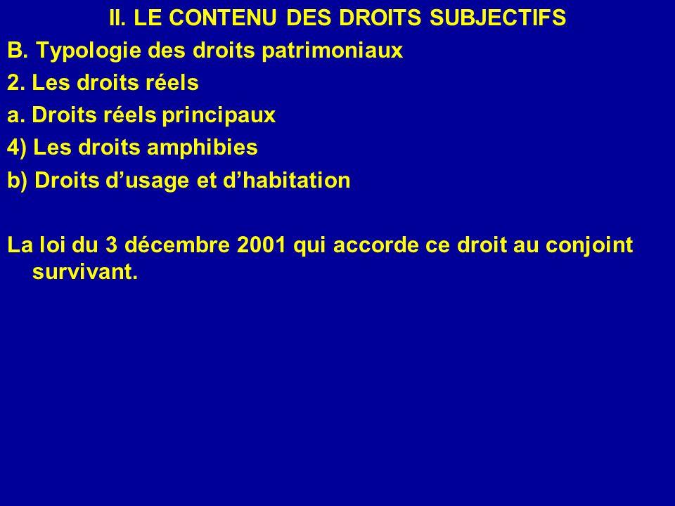 II. LE CONTENU DES DROITS SUBJECTIFS B. Typologie des droits patrimoniaux 2. Les droits réels a. Droits réels principaux 4) Les droits amphibies b) Dr
