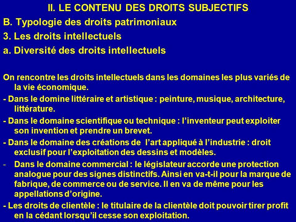 II. LE CONTENU DES DROITS SUBJECTIFS B. Typologie des droits patrimoniaux 3. Les droits intellectuels a. Diversité des droits intellectuels On rencont
