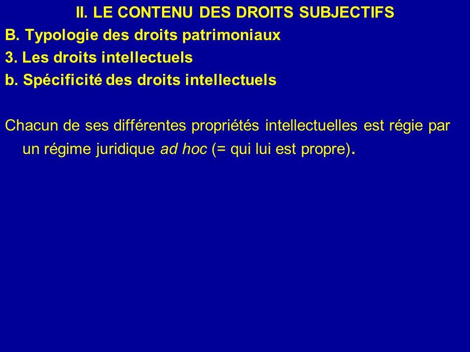 II. LE CONTENU DES DROITS SUBJECTIFS B. Typologie des droits patrimoniaux 3. Les droits intellectuels b. Spécificité des droits intellectuels Chacun d