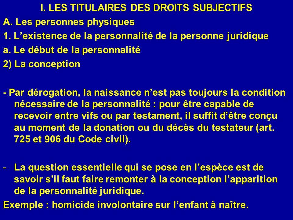 I. LES TITULAIRES DES DROITS SUBJECTIFS A. Les personnes physiques 1. Lexistence de la personnalité de la personne juridique a. Le début de la personn
