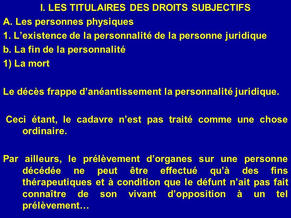I. LES TITULAIRES DES DROITS SUBJECTIFS A. Les personnes physiques 1. Lexistence de la personnalité de la personne juridique b. La fin de la personnal