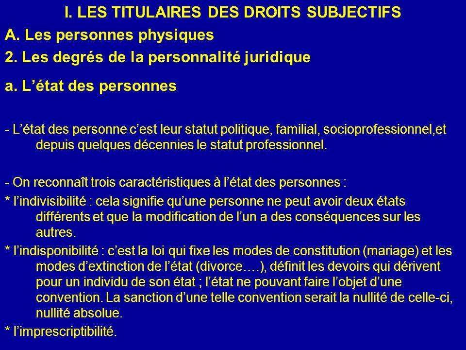 I. LES TITULAIRES DES DROITS SUBJECTIFS A. Les personnes physiques 2. Les degrés de la personnalité juridique a. Létat des personnes - Létat des perso